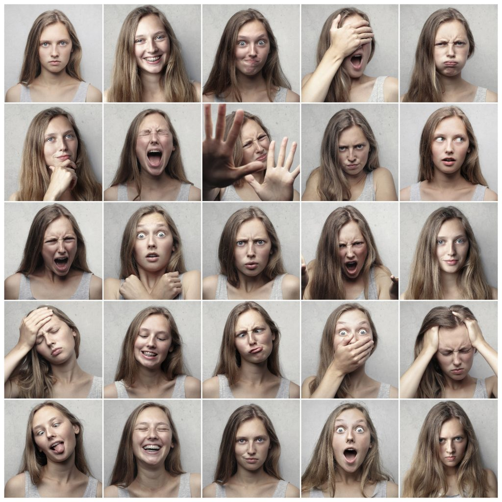 a collage of one woman having lots of different feelings - being human
