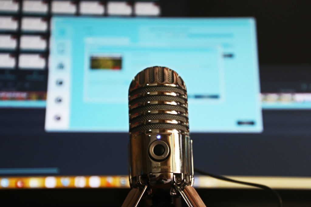 talking about starting your own podcast - an image of a recording mic close up