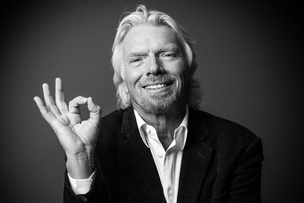 black and white photograph of entrepreneur and Virgin founder, Richard Branson