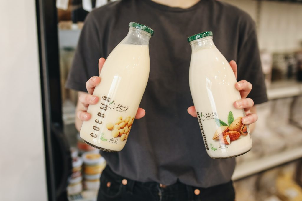 picture of a product someone is selling: bottles of non dairy milk. samples can help increase initial sales